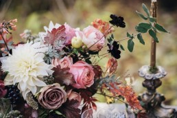 dusty pink roses wedding centrepiece