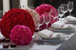 carnation balls wedding centrepieces