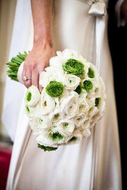 white ranunculus bridal bouquet