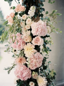 soft pink wedding arch